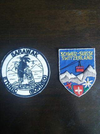 Embroidered badge from sarawak and switzerland( rm 15 each )