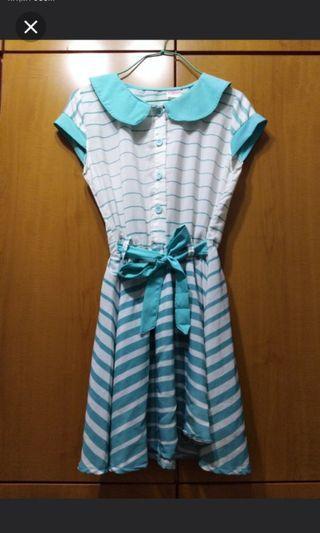 Turquoise Korean Stripe Dress