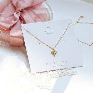 Delicate 18K Gold filled 925 silver Gems Zirconia Star Necklace ❬KY❭