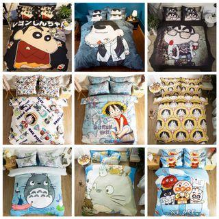 🎊 Promo One Piece Crayon Totoro Cartoon Fitted Bedsheet Set
