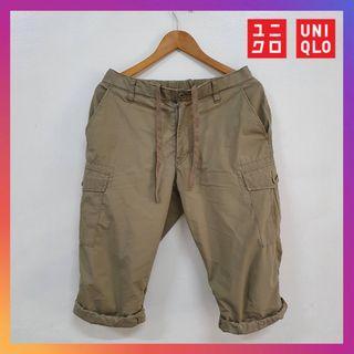 Uniqlo Men Roll Up 3/4 Cargo Quarter Pants Beige Size S