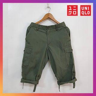 Uniqlo Men Roll Up 3/4 Cargo Quarter Pants Olive Size S