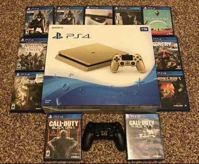 Limited Edition Sony Playstation 4 1TB Gold plus two wireless controller and loads of games like call of Duty, fallout, assassin Creed unity, the Last of US