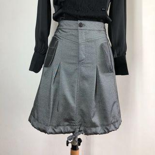 Skirt (SALE) - Grey Printed Drawstring Hemline Skirt