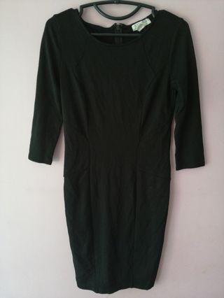 F21 Black Bodycon 3 Quarter Sleeves Little Black Dress