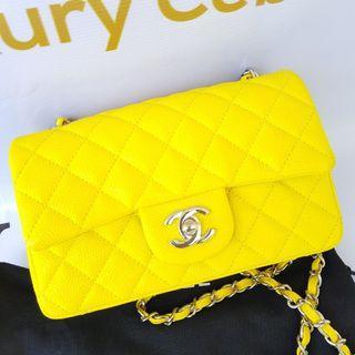 Authentic Chanel Mini Flap Caviar in Yellow
