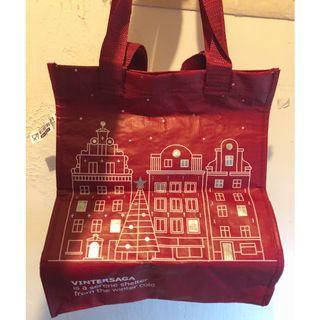 IKEA 2018聖誕限定手繪風 防水購物袋