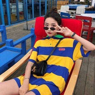 honeydays blue and yellow striped tee dress