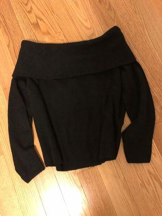 H&M Black Off-Shoulder Sweater (Size XS)