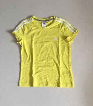 Adidas 3 Stripes Tee in Yellow