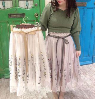 實拍💐日系💐蝴蝶結花朵刺繡紗裙 Japan fashion tie-up ribbon flower embroidery tulle lace skirt tulle skirt 2 colours