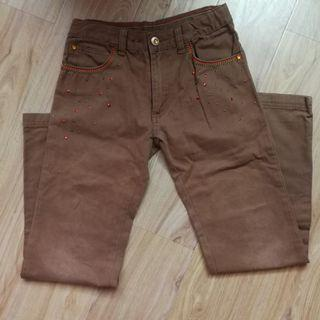 Brown long pants, soft jeans