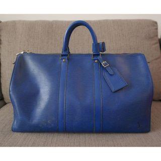 c843eceec6 Authentic Louis Vuitton LV Epi Keepall 45 Denim Blue