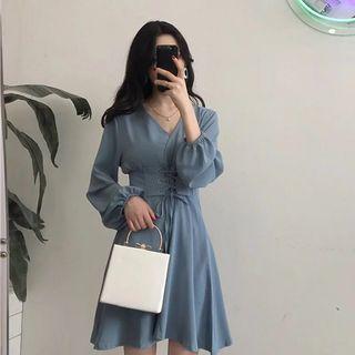 V領燈籠袖高腰顯瘦連身裙