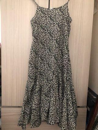 黑白豹紋細肩魚尾裙