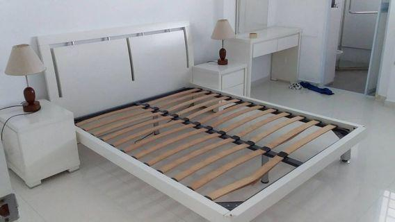Queen Size Bed Frame with 2side table