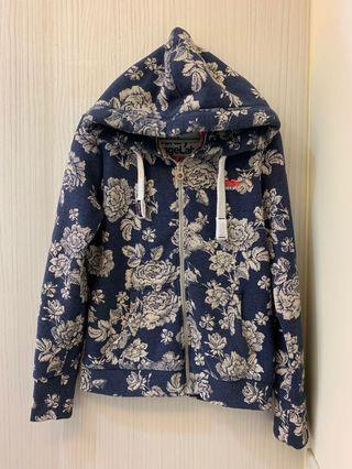Superdry 極度乾燥藍花卉棉帽T外套