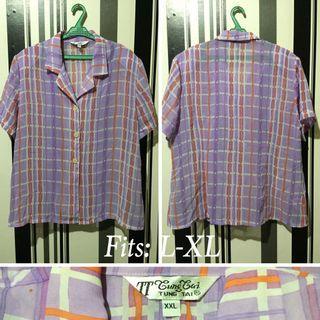 Button-Down Lavender orange and white stripe blouse