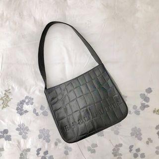 GAULTIER Vintage Croc Print Black Shoulder Bag