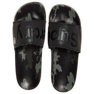 Brand New Authentic Superdry AOP Black Camou Beach Slide Sandals Size M