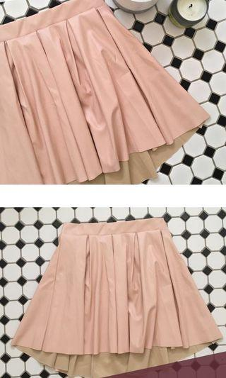 Pastel pink leather tennis skirt