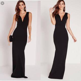 Black V neck formal maxi dress size 8