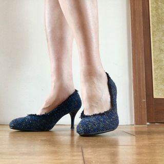 藍色布料高跟鞋/仿香奈兒質感/近全新/24-24.5cm