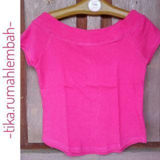 Kaos Sabrina Pink lengan pendek Pink