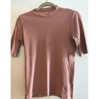 Uniqlo Ribbed High Neck Top Dusty Pink size L