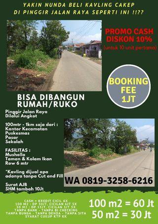 Tanah Kavling Murah Pinggir Jalan Raya Dilalui Angkot di Nanggung Bogor
