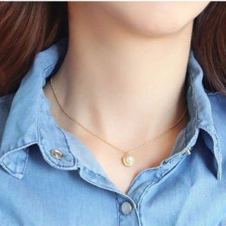實拍/現貨✨高檔合金 貝殼珍珠鎖骨項鍊