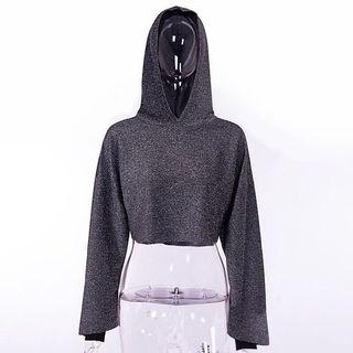 Glittery Crop Top with Hooded
