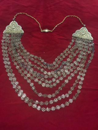 🚚 1920s Peranakan Silver Gold Gild Wedding Necklace