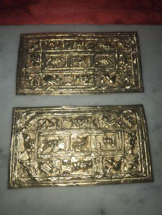 🚚 1930s Peranakan Brass Gold Plated Pillow Ends with Eight Treasures