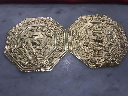 1930s Peranakan Brass Gold Plated Bolster Ends with Deer Motif