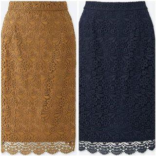 Uniqlo crochet lace midi skirts