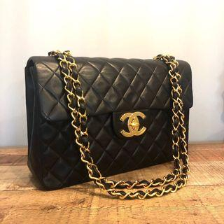 cc235b6c6c RESERVED Authentic Chanel Maxi Jumbo Classic w 24k Gold Hardware Flap Bag