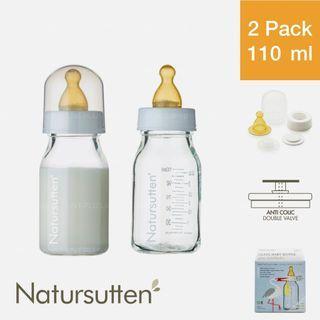 Natursutten Glass Baby Bottle 110 ml, 2 Pack — Slow Flow Anti Colic Double Valve Feeding Nursing Borosilicate Natural Rubber Latex Teat Nipple Infant Newborn New Born Drinking Milk 玻璃婴儿奶瓶
