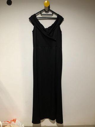 Black Long Slit Dress