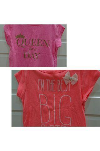 近全新 carters 4T 橘色+粉紅色上衣2件組 $250