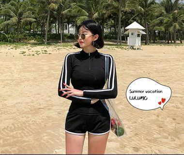 現貨質感韓妞🔥長袖運動風兩件式泳衣長袖防曬泳裝