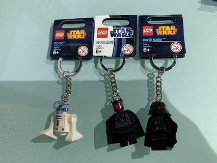 Star Wars LEGO Darth Maul, R2-D2, Darth Vader keychains