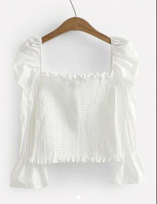 White Frill Trim Shirred Puff Sleeve Blouse