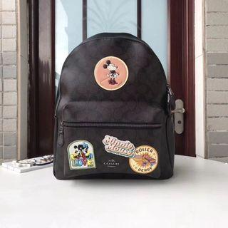 PREMIUM Coach Charlie Backpack in Signature Canvas with Mini Mouse Patches