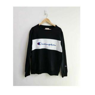 CREWNECK CHAMPION BLACK ORIGINAL