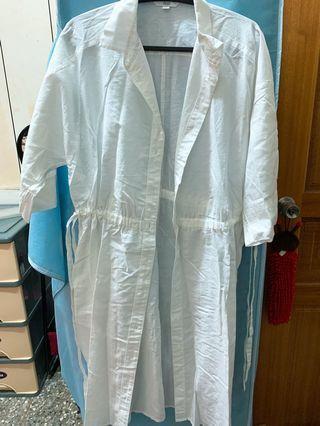Unique 白色長板襯衫(可以當洋裝)