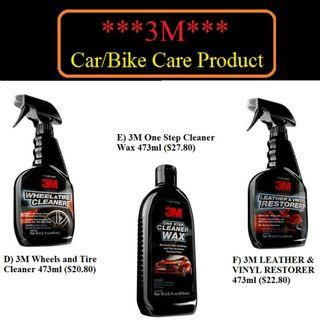 3M Car/Bike Care Product A) 3M Waterless Wash & Wax 473ml ($14.80) B) 3M Glass Cleaner 19oz ($15.80) C) 3M Car Detailing Cloth ($12)D)3M Wheels n Tire Cleaner473ml($20.80)E)3M One Step Cleaner Wax 473ml($27.80) F)3M LEATHER & VINYL RESTORER 473ml($22.80)