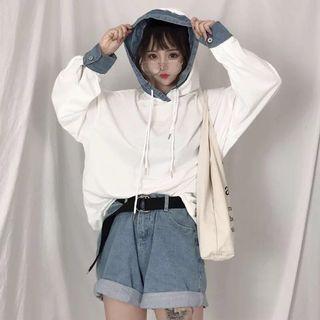 White with Denim details Hoodie / Long Sleeves / Pullover