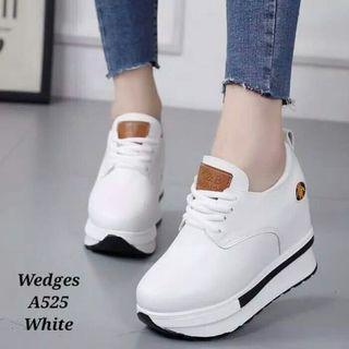 Sepatu sneaker boot wedges korea style wanita putih