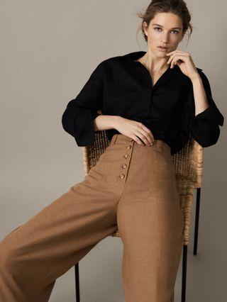 OshareGirl 04 歐美高端女士鈕釦口袋設計寬褲高腰休閒褲